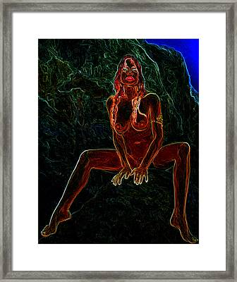 Nude On Rock Man Ray Homage Framed Print by Brian King