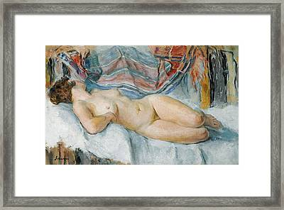 Nude On The Bed Framed Print by Henri Lebasque