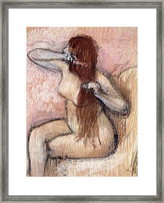 Nude Seated Woman Arranging Her Hair Femme Nu Assise Se Coiffant Framed Print by Edgar Degas
