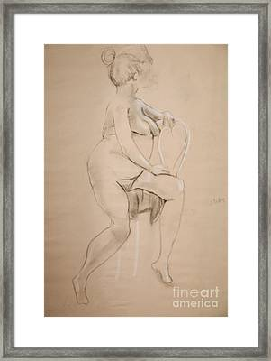 Nude Sits On White Chair Framed Print by Gabrielle Schertz