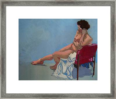 Nude Sitting In Red Chair Framed Print by Mike Jory