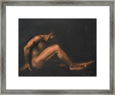 Nude Sitting Framed Print by L Cooper