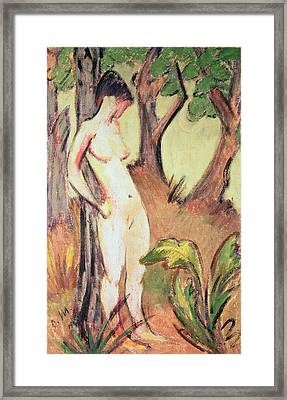 Nude Standing Against A Tree Framed Print by Otto Muller or Mueller