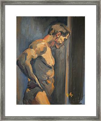 Framed Print featuring the painting Nude Study  by Becky Kim