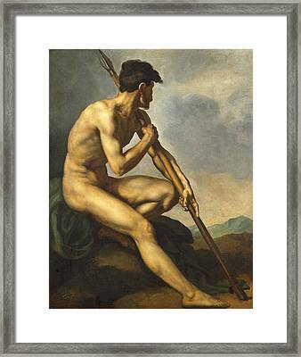 Nude Warrior With A Spear Framed Print by Theodore Gericault