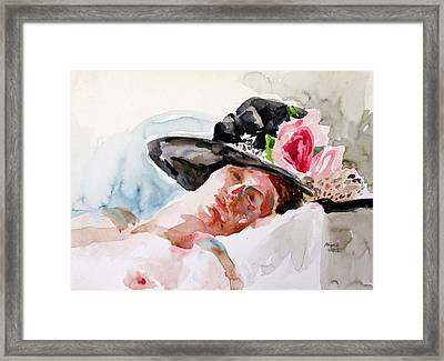 Nude With Flowered Hat Framed Print