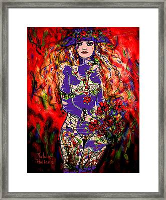 Nude With Flowers Framed Print by Natalie Holland