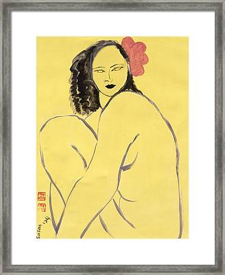Nude With Pink Hibiscus, 2004 Acrylic On Paper Framed Print by Susan Adams