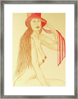 Nude With Red Hat Framed Print by Rand Swift