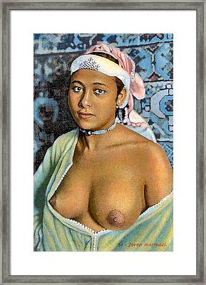 Nude With Red Scarf Framed Print by Unknown