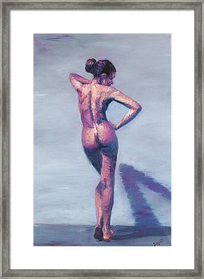 Nude Woman In Finger Strokes Framed Print