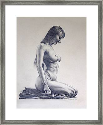 Nude Woman Kneeling Drawn Figure Study  Framed Print by Brent Schreiber