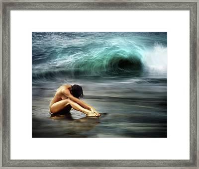 Nude Woman On Beach Framed Print