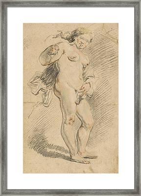 Nude Woman Standing Framed Print by Johann Liss