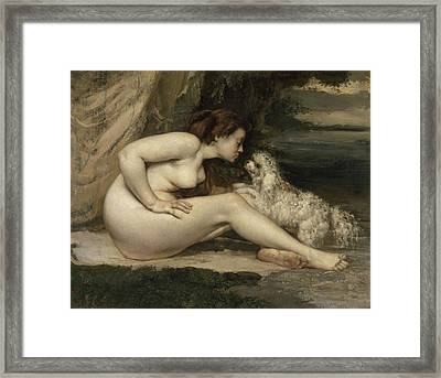 Nude Woman With A Dog Framed Print
