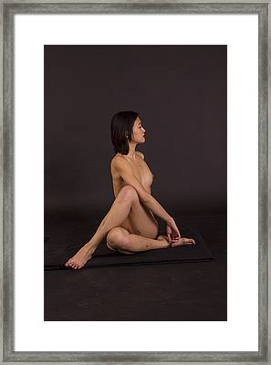 Nude Yoga- Spinal Twist Framed Print by Stephen Carver