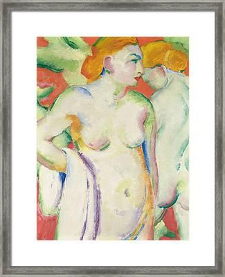 Nudes In Cinnabar Framed Print by Franz Marc