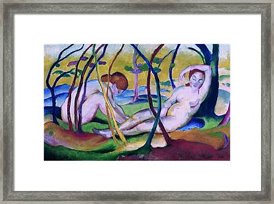 Nudes Under Trees Framed Print by Franz Marc