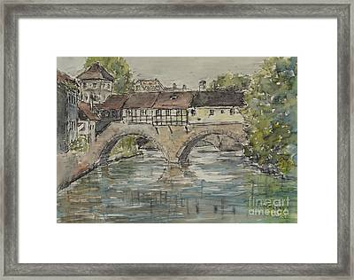 Framed Print featuring the painting Nuernberg Bridge Of The Hangman by Alfred Motzer