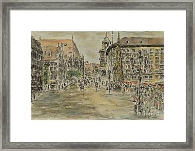 Framed Print featuring the painting Nuernberg Central Market Place With Gothic Fountain by Alfred Motzer