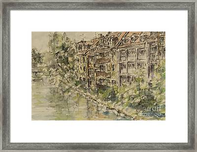 Framed Print featuring the painting Nuernberg Southern Riverside Of Rednitz by Alfred Motzer