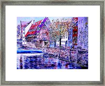 Framed Print featuring the painting Nuernberg Walkby The Riverside by Alfred Motzer