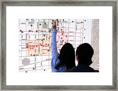 Nuit Blanche Map Framed Print by Valentino Visentini