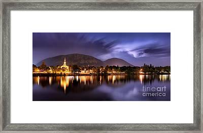 Nuit Orageuse Sur Mont Saint Hilaire Framed Print