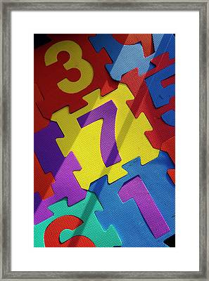 Numbered Tiles Framed Print by Mark Williamson