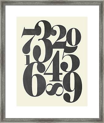 Numbers Cream Framed Print by Amy Cummings