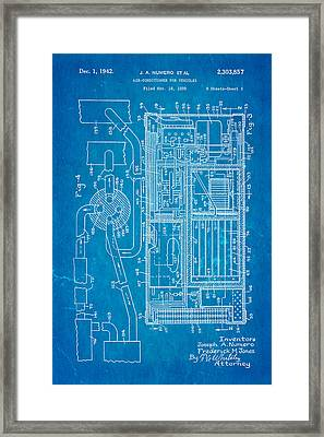 Numero Car Air Conditioning Patent Art 1942 Blueprint Framed Print by Ian Monk