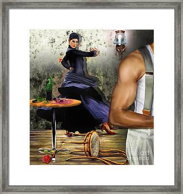 Nunca Hemos Bailado Una Cancion De Amor Framed Print by Reggie Duffie