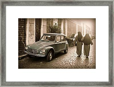 Nuns With Vintage Car Framed Print
