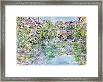 Framed Print featuring the painting Nuremberg River Pegnitz Watching Charles Bridge by Alfred Motzer