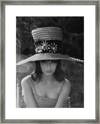 Nuria Toray Wearing A Straw Hat Framed Print