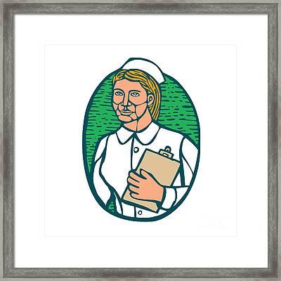 Nurse Holding Clipboard Oval Woodcut Linocut Framed Print