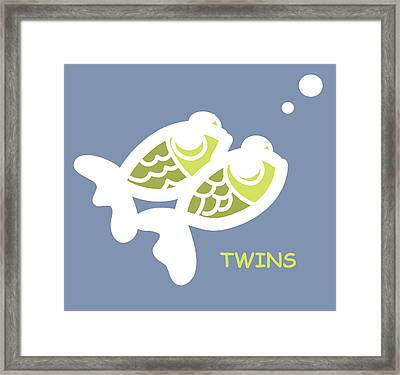 Nursery Wall Art For Twins Framed Print by Nursery Art