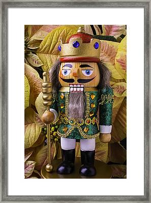 Nutcracker And Poinsettia Framed Print by Garry Gay