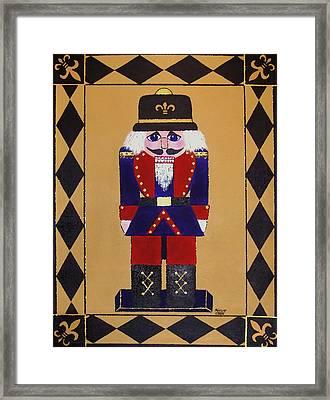 Nutcracker Floor Cloth Sgt. Blue Framed Print by Cindy Micklos