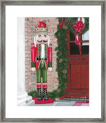 Nutcracker - Sentinel At The Door Framed Print by Sherry Goeben