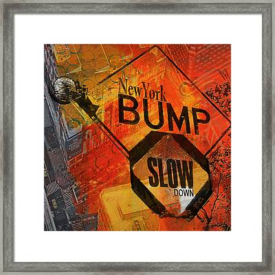 Ny - Traffic Sign Framed Print by Corporate Art Task Force