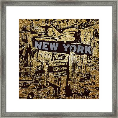 Ny City Collage - 9 Framed Print by Corporate Art Task Force