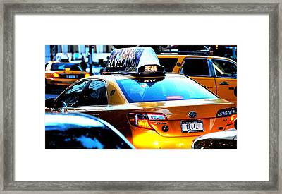 Ny City Taxi Cab At Twilight Manhattan Framed Print by Ron Bartels