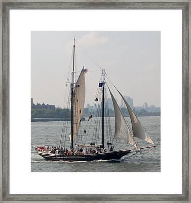 Ny Harbor Schooner Framed Print