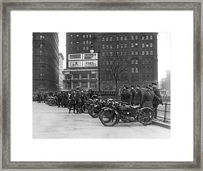 Ny Motorcycle Police Framed Print by Underwood Archives