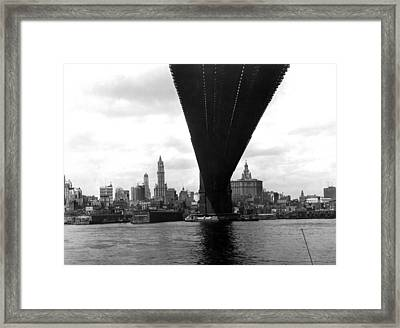 Ny Skyline From Brooklyn Framed Print by Underwood Archives