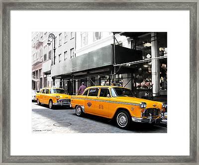 Ny Streets - Yellow Cabs 1 Framed Print