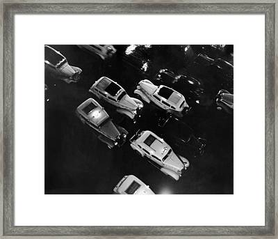 Ny Taxis On A Rainy Night Framed Print by Underwood Archives