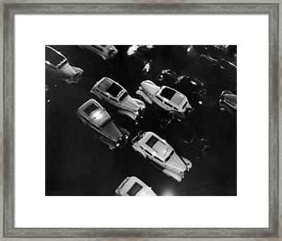Ny Taxis On A Rainy Night Framed Print