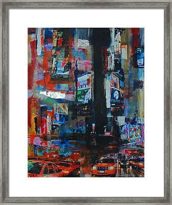 Ny Times Square Night 2 Framed Print
